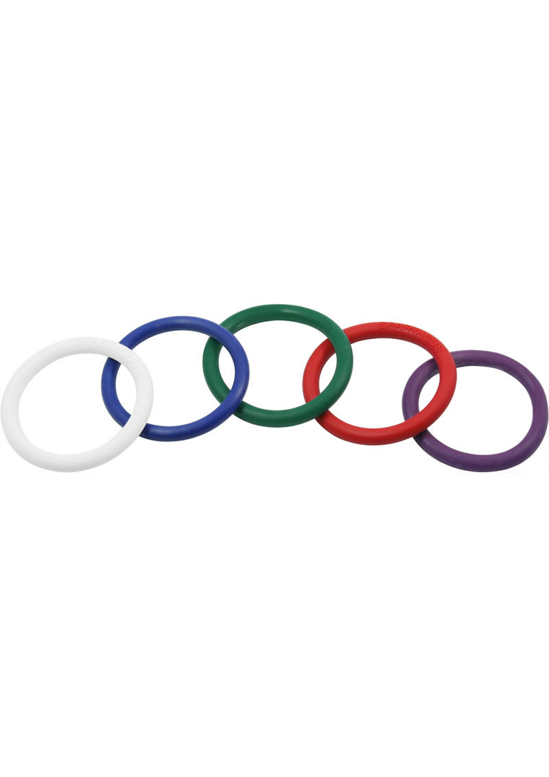 Rubber Cock Ring 5 Per Set 1.5 Inch Rainbow
